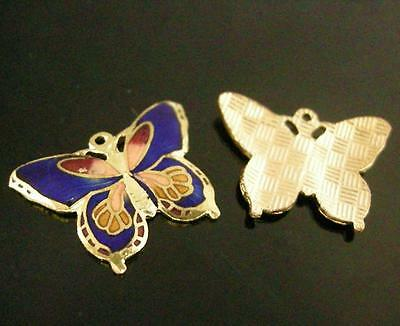 2pc 26x21mm handmade butterfly Cloisonne Pendants-7643