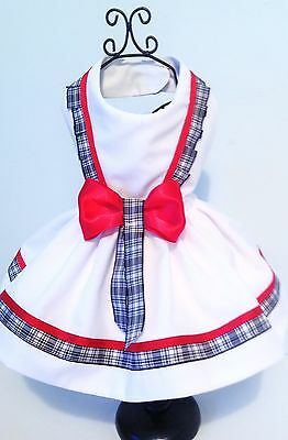 Dog dress white poly cotton with check ribbon detail by Precious Pup