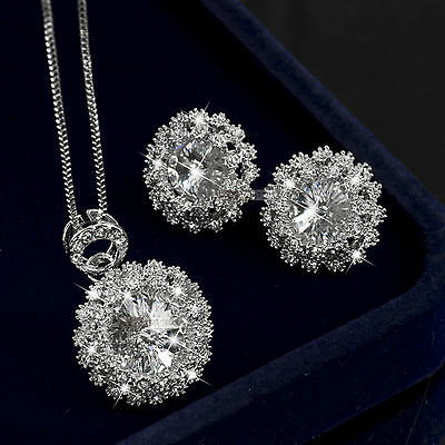 18K Gold Gf Made With Swarovski Crystal Necklace Stud Earrings Wedding Set