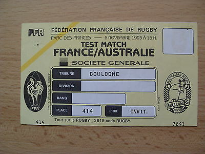 France v Australia 1993 Used Rugby Ticket