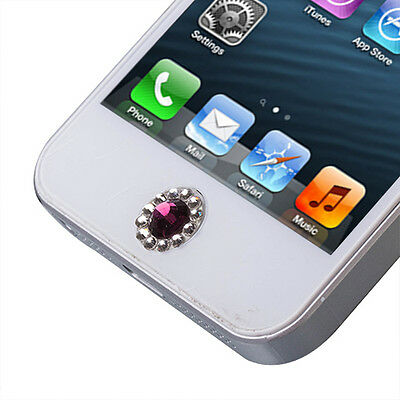 Purple Diamond Style Home Button Sticker For Apple New iPhone 5S 5 4S 4