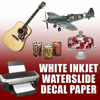 Waterslide Decal Paper, WHITE For INKJET  Printer 10 Sheets