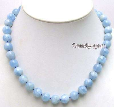 "SALE Genuine 9-10mm Round Natural High quality Blue Aquamarine 18"" necklace-5672"