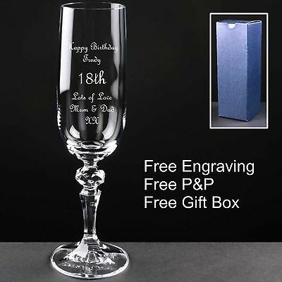 Personalised Crystal Champagne Flute,Birthday Gift 18th 21st 30th 40th 50th 60th