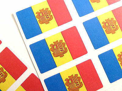 Mini Sticker Pack, Self-Adhesive Andorra Flag Labels, FR53
