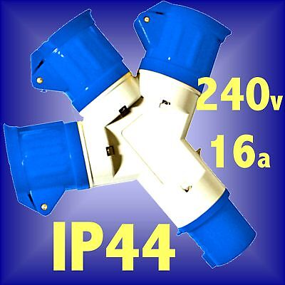 240V 16A 3 WAY SPLITTER SOCKET IP44 extension lead