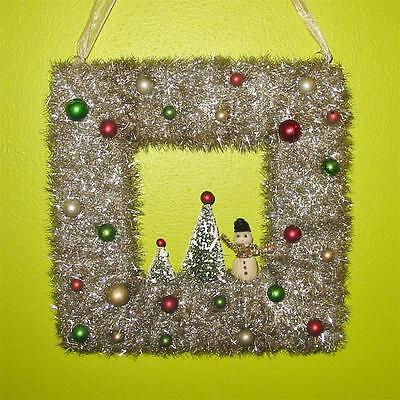 Vintage Style Tarnished Silver Square Christmas Wreath with Snowman Bottle Brush