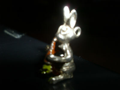 VINTAGE SILVER BRACELET CHARM RABBIT WITH CARROT JELLY BELLY