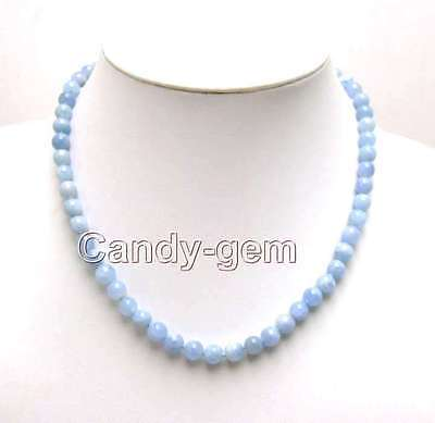 "SALE Genuine 6-7mm Round Natural High quality Blue Aquamarine 18"" necklace-n5543"