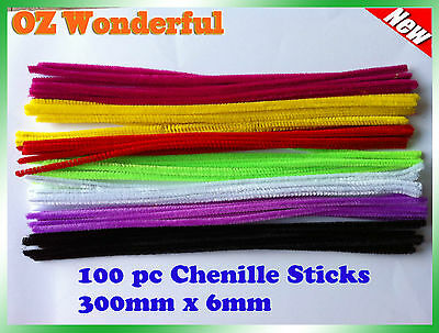 100 Pipe Cleaners Chenille Sticks Stems 6mm x 30cm Assorted Plain Colours Craft