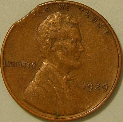 1939 P  Lincoln Wheat Penny,  Cent,  (Clipped Planchet) Mint Error Coin,  Af 727
