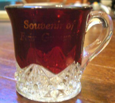 Souvenir of Fair Grounds - Ruby Button and Arches Flash Glass Cup