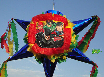 Justice League DC COMICS Pinata Star Shape Festive  Holds 2 to 5 Pounds CandyBlu