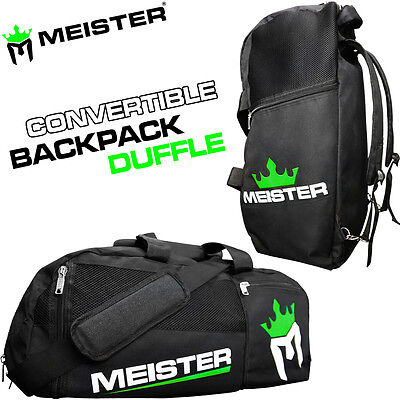 MEISTER CONVERTIBLE BACKPACK / GYM BAG - Black Sports MMA Duffle CARRY-ALL LARGE