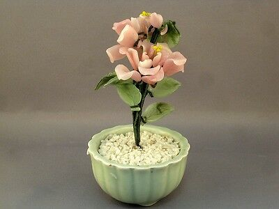 Vtg Jade Glass Bonsai Tree Chinese Japanese Art Oriental Flower Blossom in Vase
