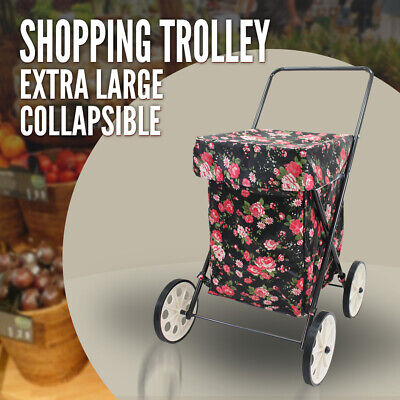 Extra Large Collapsible Shopping Trolley 4 Wheels, Water Resistent, Flower, New