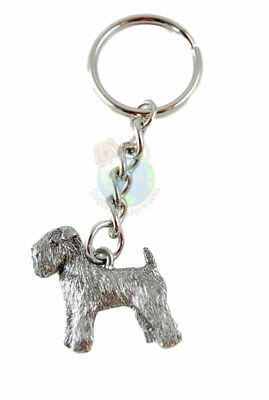 Soft Coated Wheaten Terrier Dog Fine Pewter Silver Keychain Key Chain Ring