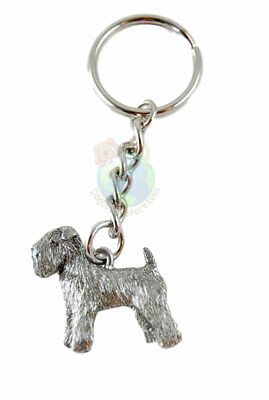 Soft Coated Wheaten Terrier Keychain Silver Pewter Key Chain Ring