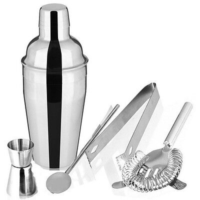 5pcs Stainless Steel Cocktail Shaker Martini Drink Mixer Tool Kit Set Home Party