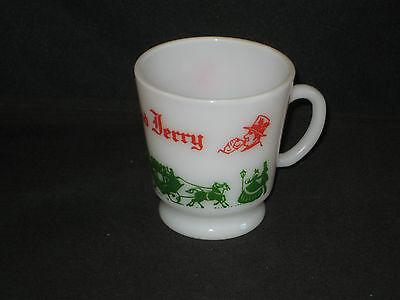 Vintage Hazel Atlas TOM AND JERRY Christmas Holiday Glass Egg Nog Punch Cup