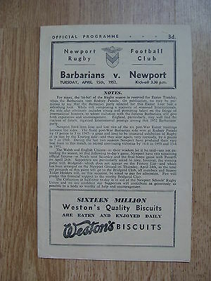Newport v Barbarians 1952 Rugby Programme
