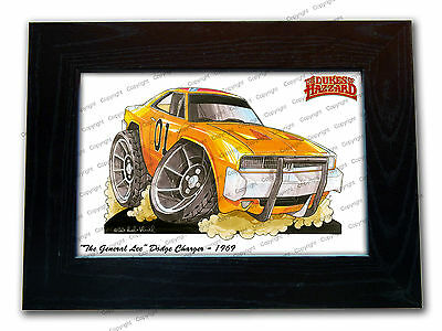 DUKES OF HAZZARD GENERAL LEE Movie Car Koolart Quality Glass Framed Picture