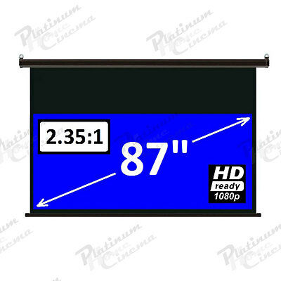 """87"""" Electric HD 2.35:1 Anamorphic Projection Screen projector home cinema White"""