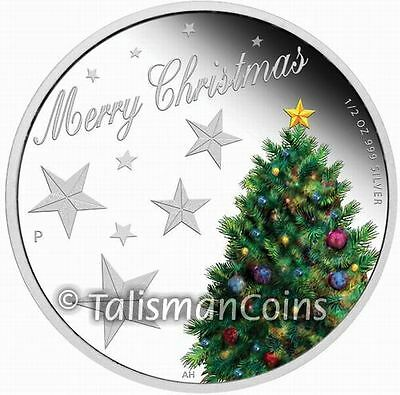 Australia 2013 Christmas Tree Holiday 50 Cents Pure Silver Half Dollar Proof