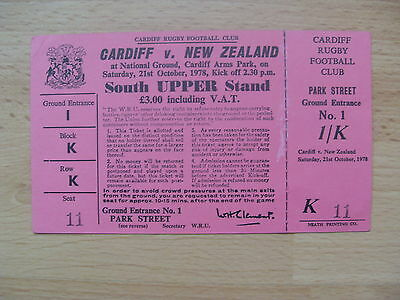Cardiff v New Zealand 1978 Used Rugby Ticket