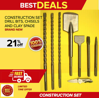 Heavy Duty Construction Set (Drill Bits, Chisels, & A Clay Spade), Brand New