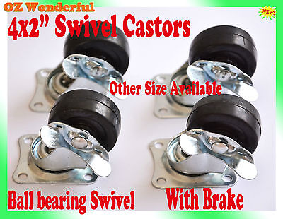 "4 pcs 2"" With Brake Swivel Castor Wheel 50mm Castors New Good Quality"