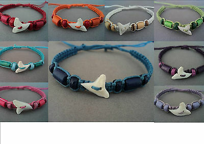 SHARK TOOTH BRACELET WRISTBAND ADJUSTABLE genuine sharks tooth many colours