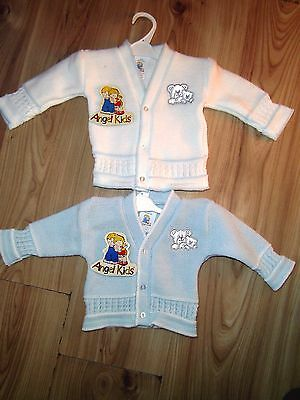 BABY BOY/GIRL KNITTED CARDIGAN BLUE WHITE Embroidered Bears 3-6 6-9 MONTH GIFT