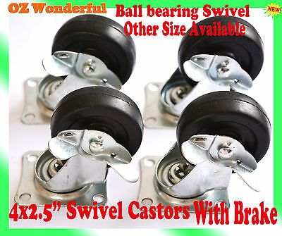 "4 pcs 2.5"" With Brake Swivel Castor Wheel 65mm Castors New Good Quality"