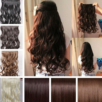 Long Straight/Curly/Wavy Hair Extension Clip in Hair Extensions 5 Clips 30 Color