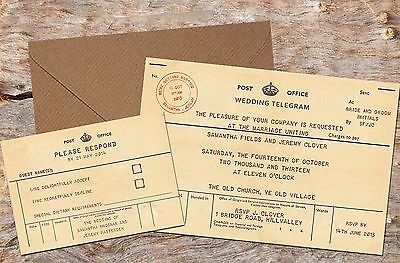 10 x PERSONALISED VINTAGE TELEGRAM WEDDING INVITATIONS WITH RSVP 10, 50 OR 100