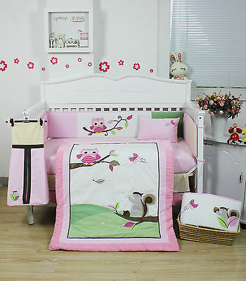 BNIB 9 Pieces Beautiful Owl Design Baby Girls Crib Cot Bedding Quilt Set