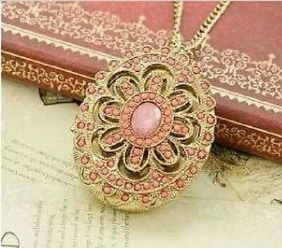 Coral Locket Faux Gem Dull Gold unusual Vintage Jewellery Gift for her Art Deco
