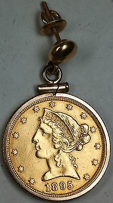 1895 $5 Liberty Gold Coin Half Eagle with 10k Earring Attachment in GF Bezel