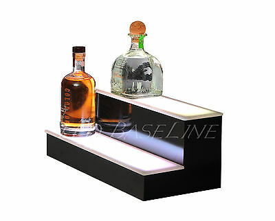 "21"" 2 Tier Step - LED Lighted Back Bar Liquor Bottle Shelf Glowing Display Stand"