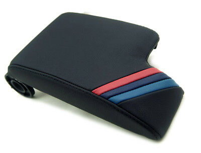 Center Console Armrest Cover Real Leather for BMW E46 99-04 M Style Stripes