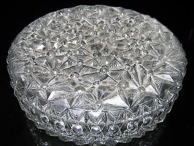 GREAT Modernist FLUSHMOUNT Ceiling GLASS SHADE Geometric STARBURST FLOWER DESIGN