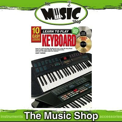New 10 Easy Lessons Learn to Play Keyboard Music Tuition Book with CD & DVD