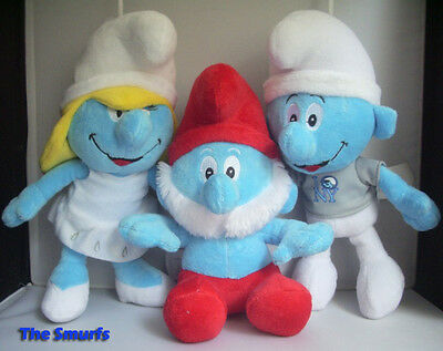 3X The Smurfs Plush Toy Papa Smurf Smurfette Soft Dolls