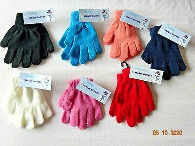 Kids Boys Girls School/casual Winter Warm Magic Gloves Black Hands Protection