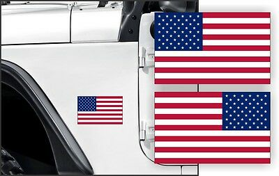 American Flag Decal / Bumper Sticker / Vinyl Label Old Glory (Set of 2) RH & LH