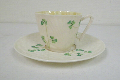 BELLEEK IVORY WITH GREEN CLOVERS CUP & SAUCER