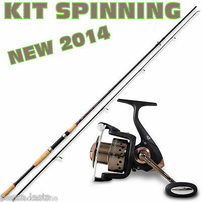 kit per lo spinning canna in carbonio da 3,00 mt e mulinello pesca  lago mare