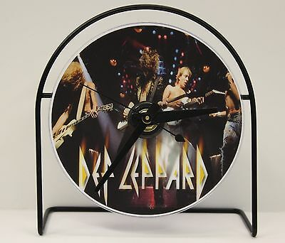 """DEF LEPPARD  PICTURE CD CLOCK THAT PLAYS THE SONG """"POUR SOME SUGAR ON ME"""""""