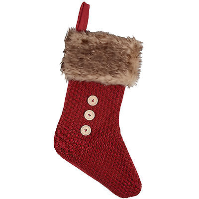 19'' Red Knitted Christmas Stocking With Brown Faux Fur And Hanging Hook New